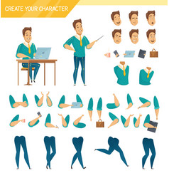 office worker constructor cartoon set vector image vector image