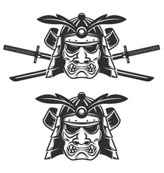 set of the samurai mask with crossed swords vector image