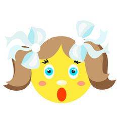 smiley girl screams scared vector image vector image