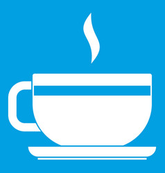 Tea cup and saucer icon white vector