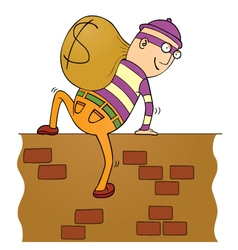 Thief climbing wall vector image vector image