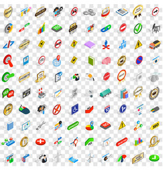100 marker icons set isometric 3d style vector