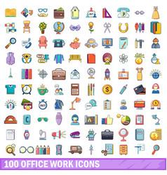 100 office work icons set cartoon style vector