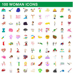 100 woman icons set cartoon style vector image