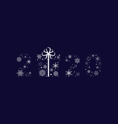 2020 from snowflakes with a gift new year vector image