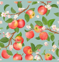 Autumn apple seamless pattern summer fruits vector
