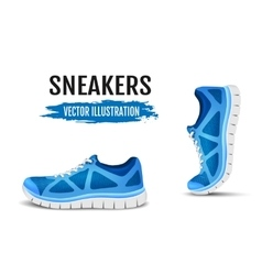Background of two running shoes Blue sport shoes vector