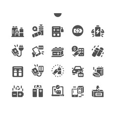 Batteries well-crafted pixel solid icons vector