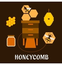Beekeeping flat infographic with bees and beehives vector image