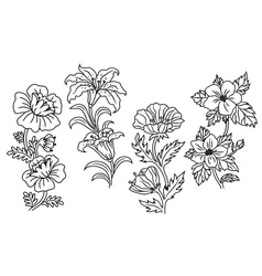 Black and white outline summer flowers vector image