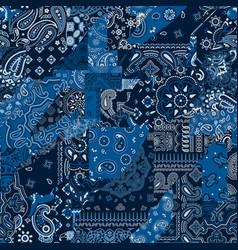 Blue bandana kerchief paisley fabric patchwork vector