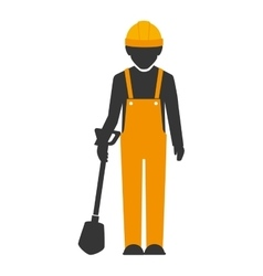 Builder construction worker shovel vector