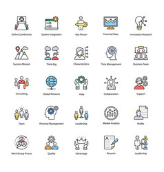 Business management flat icons vector