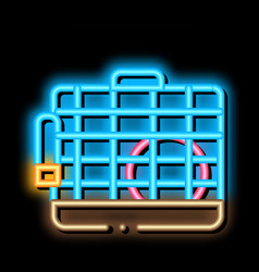 Cage for hamster neon glow icon vector