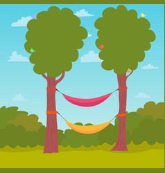 Cartoon nature background hammocks on a tree vector