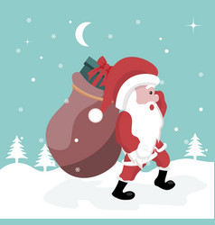 christmas card of santa claus walking in the snow vector image