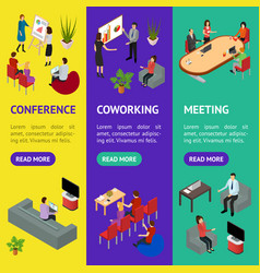 coworking people and equipment 3d banner vecrtical vector image