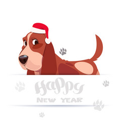 Cute basset dog in santa hat on happy new year vector
