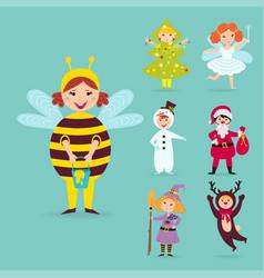 Cute kids wearing christmas costumes vector
