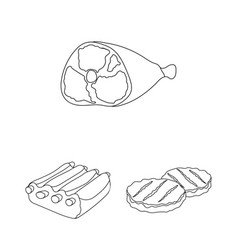 Different meat outline icons in set collection for vector