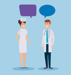 Doctor and nurse talking characters vector