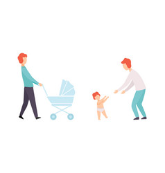 fathers taking caring their babies set young vector image