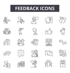 feedback line icons for web and mobile design vector image
