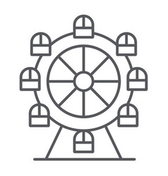 Ferris wheel thin line icon funfair and vector