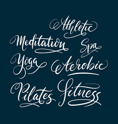 fitness and pilates hand written typography vector image