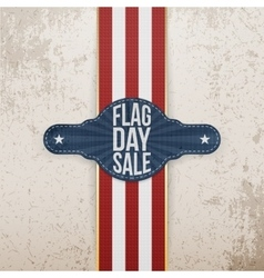 Flag day sale patriotic tag with ribbon and shadow vector