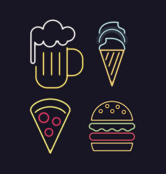food icons neon lights vector image