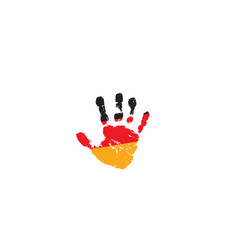 Germany flag and hand on white background vector
