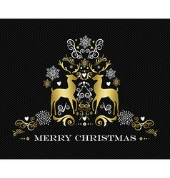 Gold Merry Christmas design of ornament reindeer vector image