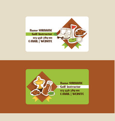 golf business card golfers sportswear and vector image