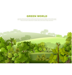 Green world undulating landscape eco poster vector