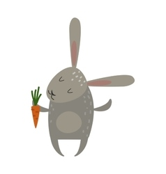Greeting card rabbit bunny with carrot vector