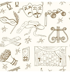 Hand drawn doodle Theater seamless pattern vector image