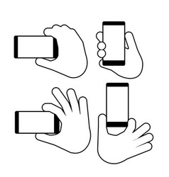 hand holds a smart phone in vertical vector image