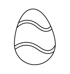 Happy easter egg decoration ornament festive line vector