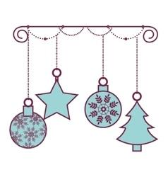 Happy merry christmas balls card vector