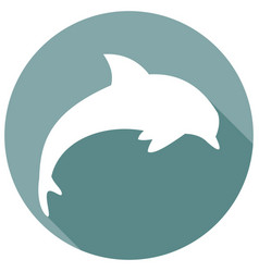 Icon dolphin with a long shadow vector