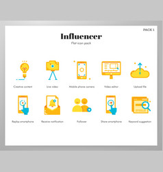 influencer icons flat pack vector image