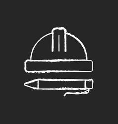 Inspection chalk white icon on dark background vector
