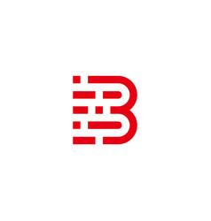 Letter b stripes pixel run movement geometric logo vector