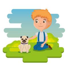 little boy happy character vector image