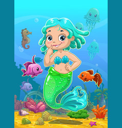 Little cute catoon mermaid vector