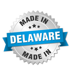 Made in delaware silver badge with blue ribbon vector