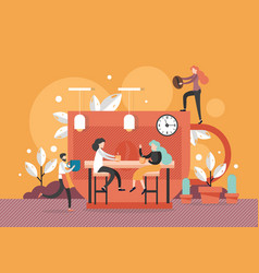 meeting in coffee shop flat style design vector image