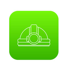 mining helmet icon green vector image