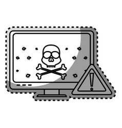 Monochrome contour sticker of lcd monitor with vector